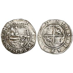 "Potosi, Bolivia, cob 4 reales, Philip II, assayer L to left (1st period, ""Lima style"")."