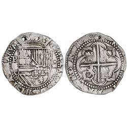 Potosi, Bolivia, cob 4 reales, Philip II, assayer C below erasure, very rare.