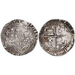 Potosi, Bolivia, cob 4 reales, Philip II, assayer B (early 3rd period).