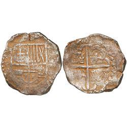 Potosi, Bolivia, cob 4 reales, (162)7T, rare, ex-Panama hoard.