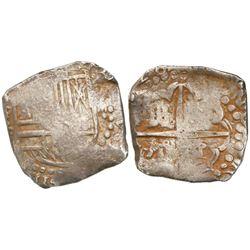 Potosi, Bolivia, cob 4 reales, (16)28P, very rare, ex-Panama hoard.