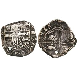 Potosi, Bolivia, cob 4 reales, (16)38TR, very rare.