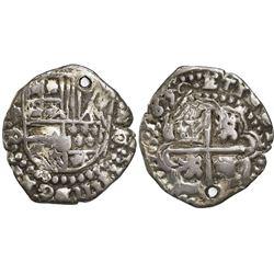 Potosi, Bolivia, cob 2 reales, 1650O, crude Royal(?), extremely rare.