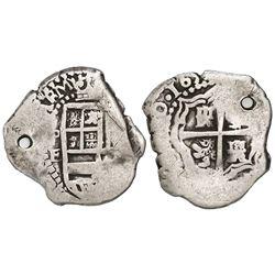 Potosi, Bolivia, cob 1 real, 1652E, extremely rare.