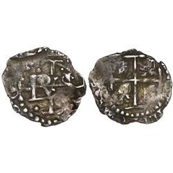 Potosi, Bolivia, cob 1/2 real, Philip IV, crossed-monogram design (1652), king's ordinal IIII visibl