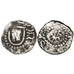 Potosi, Bolivia, cob 1/4 real, Philip III, no assayer, shield around castle, small lion without shie