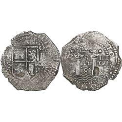 Potosi, Bolivia, cob 8 reales, (1652)E transitional Type IV.