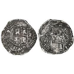Potosi, Bolivia, cob 8 reales, 1652E transitional Type VII.