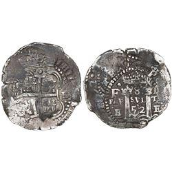 Potosi, Bolivia, cob 8 reales, 1652E transitional Type V/B, rare.