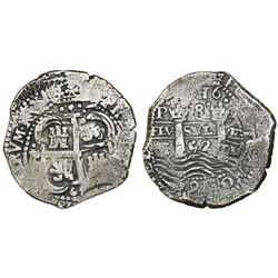 Potosi, Bolivia, cob 8 reales, 1652E post-transitional (transitional Type VIII/B), 1-PH-6 at top, un