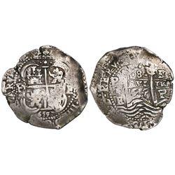 Potosi, Bolivia, cob 8 reales, 1655E.