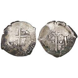 Potosi, Bolivia, cob 8 reales, 1672E.