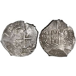 Potosi, Bolivia, cob 8 reales, 1683V.