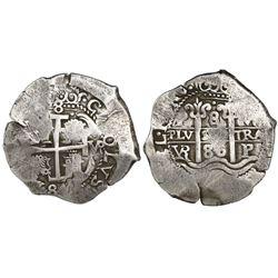 """Potosi, Bolivia, cob 8 reales, 1686VR, ex-""""Americas."""""""