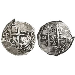 Potosi, Bolivia, cob 8 reales, 1727Y, Louis I (PR visible), rare.