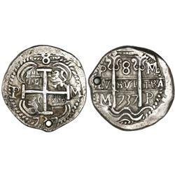 Potosi, Bolivia, cob 8 reales Royal, 1737M/E, rare.