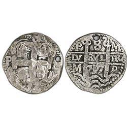 Potosi, Bolivia, cob 8 reales Royal, 1737M, rare, Lazaro Plate Coin.