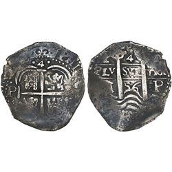 Potosi, Bolivia, cob 4 reales, 1656E.