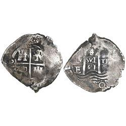 Potosi, Bolivia, cob 4 reales, 1661E, denomination 4/2.