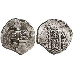 """Potosi, Bolivia, cob 4 reales, 1686VR, ex-""""Americas."""""""