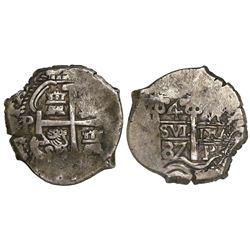 Potosi, Bolivia, cob 4 reales, 1687VR.