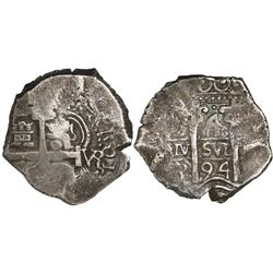 Potosi, Bolivia, cob 4 reales, 1694VR.
