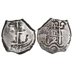 Potosi, Bolivia, cob 4 reales, 1725Y, (Louis I), rare.