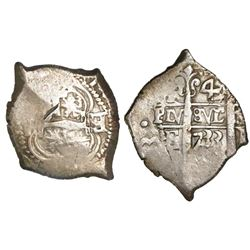 Potosi, Bolivia, cob 4 reales, 1733E, retrograde E to right of cross, rare.