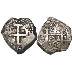 Potosi, Bolivia, cob 4 reales, 1762V-(Y).