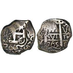 Potosi, Bolivia, cob 4 reales, 1765V-Y-V.