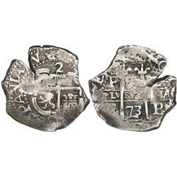 Potosi, Bolivia, cob 2 reales, 1673/2E, unique.