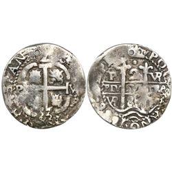 Potosi, Bolivia, cob 2 reales Royal, 1686VR, very rare.