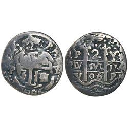 Potosi, Bolivia, cob 2 reales Royal, 1706Y, extremely rare.