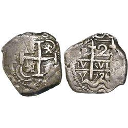 Potosi, Bolivia, cob 2 reales, 1726Y, (Louis I).
