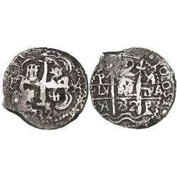 Potosi, Bolivia, cob 2 reales, 1732YA, crude Royal(?), rare.