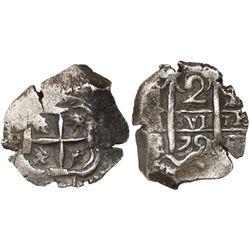 Potosi, Bolivia, cob 2 reales, 1751q/E, rare.