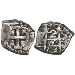 Potosi, Bolivia, cob 2 reales, 1753q/C, very rare.