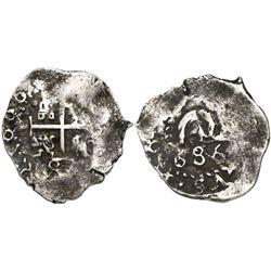 """Potosi, Bolivia, cob 1/2 real, 1686, ex-""""Americas."""""""