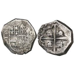 Cartagena, Colombia, cob 2 reales, 1634, assayer E below mintmark C to right, rare.