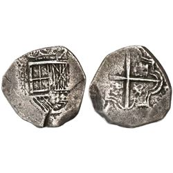Bogota, Colombia, cob 1 real, Philip IV, assayer A below mintmark NR to left, lions and castles in p