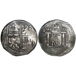 Bogota, Colombia, cob 8 reales, 1670, assayer PoRS, encapsulated NGC AU 55, finest and only known sp