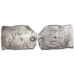 Guatemala, cob 8 reales, 1753J, with small heart countermark.