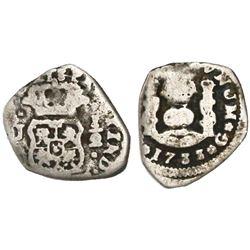 Guatemala, cob 1/2 real, 1733J, denomination 1/2, rare first date of mint.