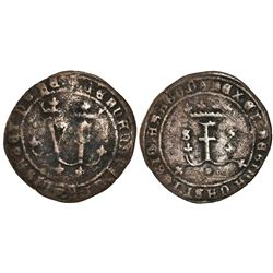 Seville, Spain, copper 4 maravedis, Ferdinand-Isabel, struck for use in New World, rare.