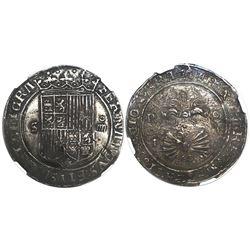 Seville, Spain, 4 reales, Ferdinand-Isabel, assayer P over ermine to left on reverse, encapsulated N