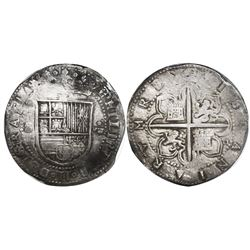Seville, Spain, cob 8 reales, Philip II, assayer Gothic D at 4 o'clock outside tressure around cross