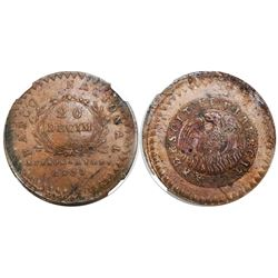 Buenos Aires, Argentina (National Bank), copper 20 decimos, 1830, encapsulated NGC AU 58 BN, tied fo