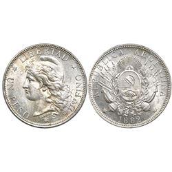 Argentina, 1 peso (patacon), 1882.