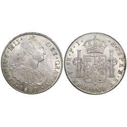 Potosi, Bolivia, bust 8 reales, Charles IV, 1807PJ.