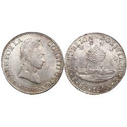 Potosi, Bolivia, 8 soles, 1845R.